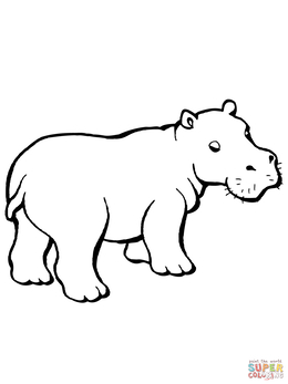 Hippo Coloring Pages Clipart Hippopotamus Cute Colouring Baby