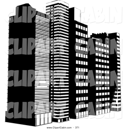 Download Black And White Buildings Clipart Skyscraper High Rise Building Clip Art
