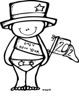 melonheadz new year black and white clipart baby new year clip art