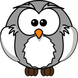 灰色卡通猫头鹰剪辑