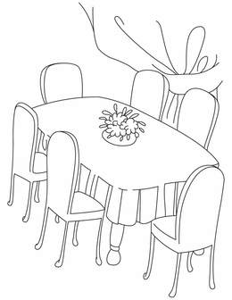 Download dining table coloring page clipart Table Dining room ...