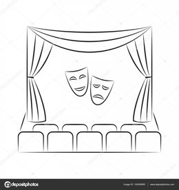 Theatre Stage Black And White Clipart