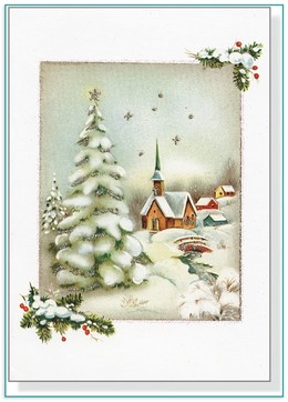download vintage winter church small boxed holiday cards clipart christmas tree greeting note cards christmas card - Boxed Holiday Cards