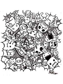 Download monster doodle art clipart Coloring book Doodle Colouring Pages