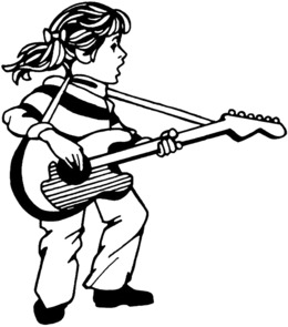 Download Girl Playing Guitar Coloring Page Clipart Book Colouring Pages