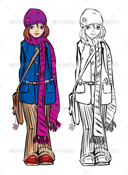 download cute winter girl drawings clipart clip art