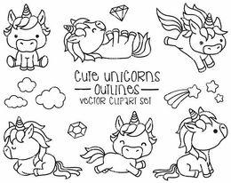 Download Licorne Kawaii Coloriage Kawaii Clipart Unicorn Drawing