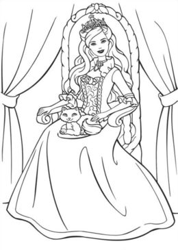 Download Barbie Princess Coloring Page Clipart Elsa Colouring Pages Book
