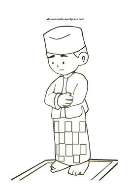 Muslim Islam Child Cartoon Design Drawing Clothing White