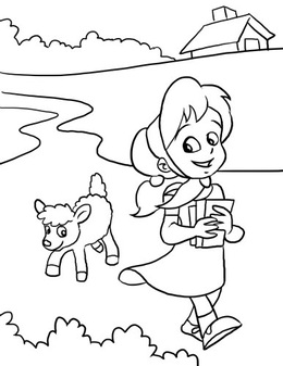 Download Mary Had A Little Lamb Coloring Page Clipart Nursery Rhyme Fun Colouring Pages Book