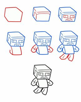download draw minecraft step by step clipart minecraft drawing steve