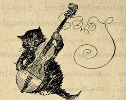 download simple cat with violin fiddle drawing vintage