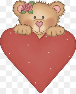Bear Drawing Illustration Red Pink Heart Love Smile Png